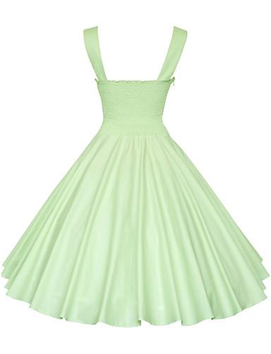 preiswerte Übergrößenkollektion-Damen Übergrössen Retro Baumwolle A-Linie Kleid Solide Knielang Gurt