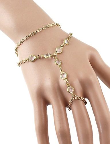 preiswerte Armband Ring-Damen Ring-Armbänder Mehrlagig Sklaven Aus Gold Modisch Rockig Aleación Armband Schmuck Gold Für Alltag Verabredung Cosplay Kostüme