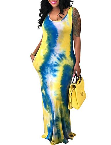 voordelige Maxi-jurken-Dames Uitgaan Standaard Schede Jurk - Kleurenblok Maxi