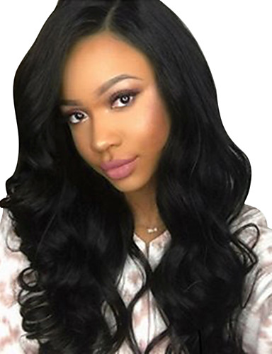 cheap Human Hair Wigs-Virgin Human Hair Glueless Lace Front Wig Free Part Kardashian style Brazilian Hair Natural Wave Black Brown Wig 130% 150% 180% Density with Baby Hair Natural Hairline Pre-Plucked Bleached Knots