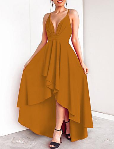 levne Maxi šaty-Dámské Párty Základní Štíhlý Pouzdro Šaty - Jednobarevné, Volná záda Maxi Hluboké V / Sexy
