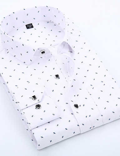 cheap 11.11 - Print Men's Shirts Best Sale-Men's Daily Work Business / Basic Cotton Slim Shirt - Polka Dot / Geometric Print Spread Collar Blue / Long Sleeve / Spring / Fall