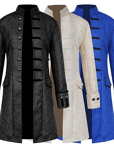 preiswerte Cosplay & Kostüme-Pest Arzt Mittelalterlich Steampunk Mantel Gehrock Herrn Kostüm Schwarz / Weiß / Königliches Blau Vintage Cosplay Langarm