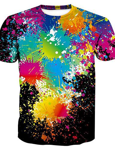 preiswerte Einfarbig-Herrn Regenbogen - Grundlegend / Übertrieben T-shirt, Rundhalsausschnitt Druck Regenbogen / Kurzarm / Sommer