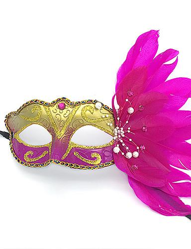 preiswerte Faschingskostüme-Feder Maske Venezianische Maske Maskenmaske Inspiriert von Prinzessin Cosplay Schwarz Weiß Sexy Halloween Karneval Maskerade Erwachsene Damen Weiblich / Halbe Maske