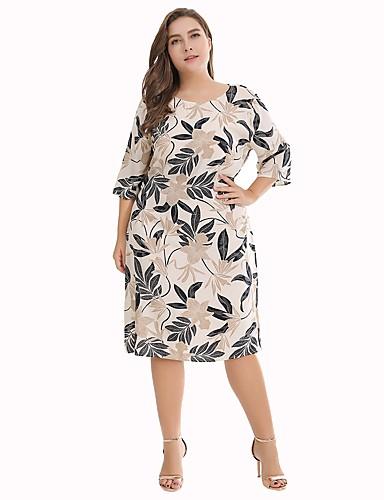 voordelige Grote maten jurken-Dames Grote maten Boho Katoen Ruimvallend Recht Jurk - Bloemen, Print Tot de knie