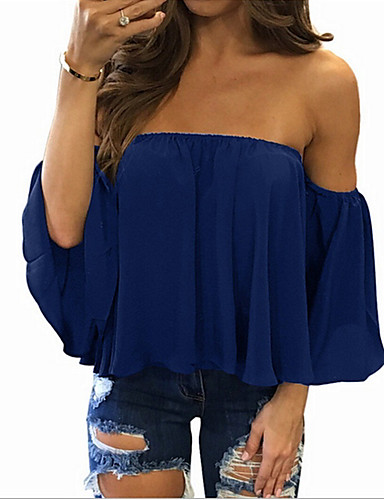 billige Skjorter til damer-Løse skuldre Store størrelser Skjorte Dame - Ensfarget, Drapering Gul / Vår / Sommer / Høst / Vinter