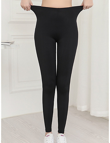 cheap Leggings-Women's Basic Legging - Solid Colored, Print Mid Waist Black L XL XXL