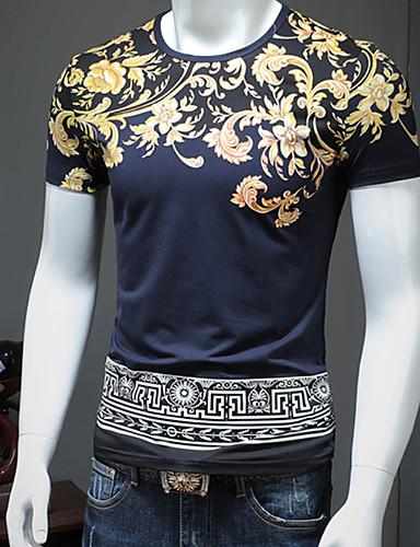 preiswerte Einfarbig-Herrn Blumen / Tribal - Retro / Grundlegend Übergrössen Baumwolle T-shirt, Rundhalsausschnitt Weiß / Kurzarm