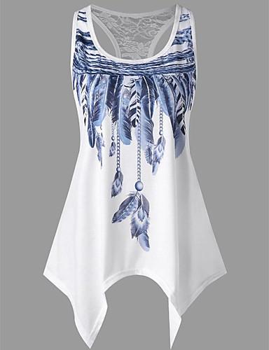 billige Dametopper-Tynn U-hals Store størrelser T-skjorte Dame - Ensfarget / Geometrisk, Trykt mønster Grunnleggende / Gatemote Ferie / Ut på byen Grønn / Sommer / Sexy