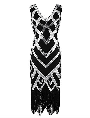 levne Šaty pro slavnostní příležitosti-Pouzdrové Do V K lýtkům Polyester Zářivé Koktejlový večírek Šaty s Flitry podle TS Couture®