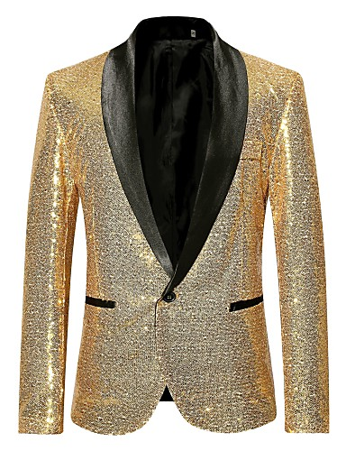 cheap Men's Blazers & Suits-Men's Party / Club Luxury All Seasons Regular Blazer, Solid Colored Shawl Collar Long Sleeve Polyester Sequins Black / Wine / Gold