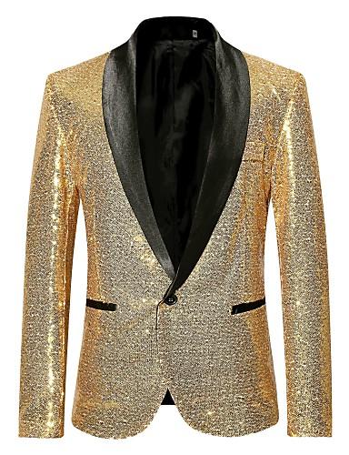 levne Pánské módní oblečení-Pánské Párty / Klub Luxus Celý rok Standardní Blejzr, Jednobarevné Šálový límec Dlouhý rukáv Polyester Flitry Černá / Fialová / Zlatá