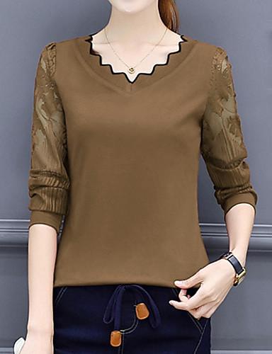 billige Dametopper-T-skjorte Dame - Ensfarget Grunnleggende Kamel