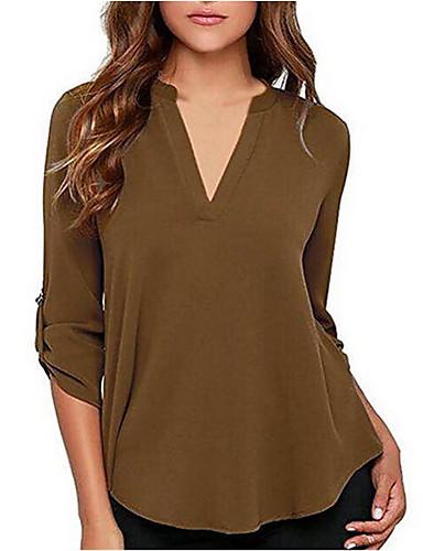 billige Skjorter til damer-Løstsittende V-hals Store størrelser Skjorte Dame - Ensfarget, Chiffon Militærgrønn / Vår / Sommer / Høst / Vinter