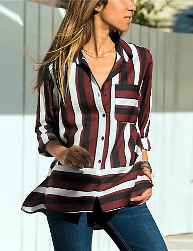 billige Skjorter til damer-Tynn Skjortekrage Skjorte Dame - Stripet Grønn