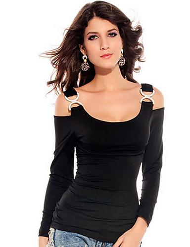 billige Dametopper-Med stropper T-skjorte Dame - Ensfarget Grunnleggende Svart