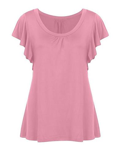billige Dametopper-U-hals Store størrelser T-skjorte Dame - Ensfarget Rosa