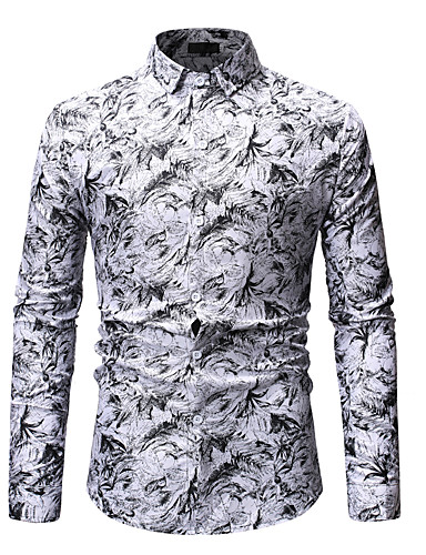 cheap Men's Shirts-Men's Floral Print Shirt Basic Street chic Going out Spread Collar White / Blue / Red / Spring / Fall / Long Sleeve
