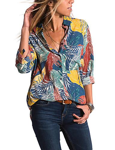 billige Dametopper-Skinny Skjortekrage Skjorte Dame - Geometrisk, Trykt mønster Grunnleggende Blå / Sexy