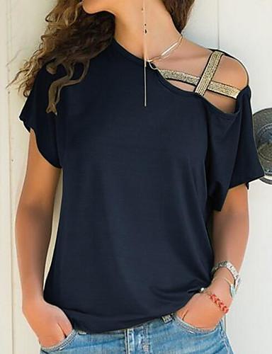 cheap Women's Blouses & Shirts-Women's T-shirt Solid Colored Off Shoulder Short Sleeve Loose Tops One Shoulder Black Blue Purple