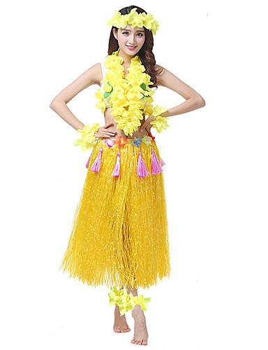 cheap Dancing Costumes-Hawaiian Hula Dancer Adults' Women's Vintage Inspired Hawaiian Costumes Grass Skirt For PVC(PolyVinyl Chloride) Spandex Lycra Floral Christmas Halloween Carnival Skirts Top Headwear / Neckwear