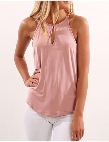 billige T-skjorter til damer-Grime T-skjorte Dame - Ensfarget, Hull / Med stropper Grunnleggende Dusty Rose Svart / Sommer