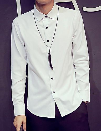 levne Pánské košile-Pánské - Jednobarevné Základní Košile Široký límeček Bílá / Dlouhý rukáv / Jaro / Podzim