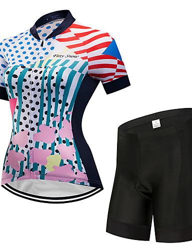 povoljno Odjeća za vožnju biciklom-FirtySnow Žene Kratkih rukava Biciklistička majica s kratkim hlačama Obala Na točkice Bicikl Sportska odijela Prozračnost Ovlaživanje Quick dry Sportski Poliester Na točkice Brdski biciklizam