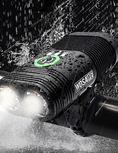 billige Sykling-Dual LED Sykkellykter Frontlys til sykkel Lommelykt Sykkel Sykling Vanntett Oppladbar Flere moduser Super Bright USB 2400 lm Oppladbar Usb Hvit Sykling - WOSAWE / Aluminiumslegering / IP67