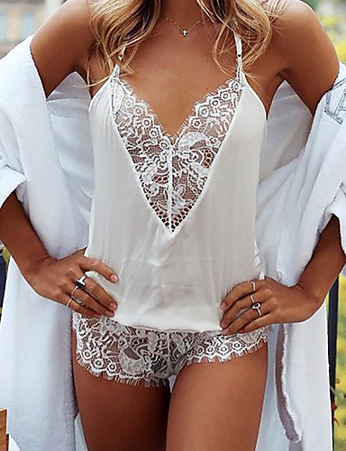 cheap Lingerie-Normal Spandex Robes Sexy Solid Colored Wedding Lace