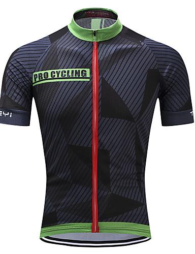 povoljno Biciklističke majice-TELEYI Muškarci Kratkih rukava Biciklistička majica Crna / Green Dungi Bicikl Biciklistička majica Majice Brdski biciklizam biciklom na cesti Prozračnost Ovlaživanje Quick dry Sportski Poliester