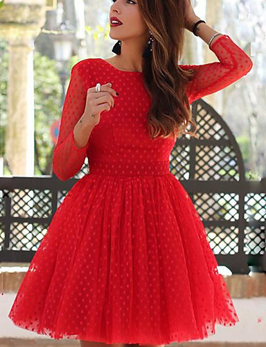 preiswerte Getupfte Kleidung-Damen Schlank A-Linie Kleid - Patchwork, Punkt Übers Knie