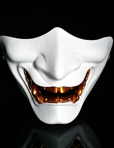 cheap Ethnic & Cultural Costumes-Japanese Hannya Omen Mask Inspired by Samurai Scary Movie White Silver Cosplay Horror Christmas Halloween Carnival Adults' Men's Women's