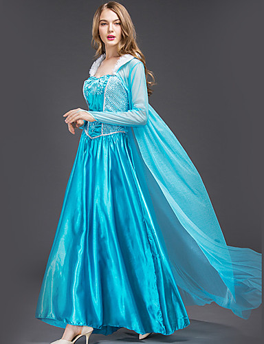 cheap Movie & TV Theme Costumes-Princess Cinderella Fairytale Dress Cosplay Costume Adults' Women's Christmas Halloween Carnival Festival / Holiday Satin / Tulle Cotton Blue Women's Easy Carnival Costumes Princess