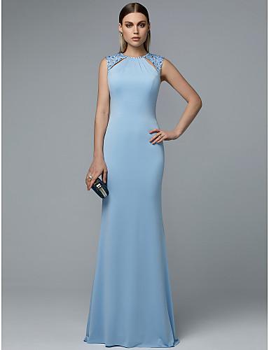 preiswerte Kleider für besondere Anlässe-Eng anliegend Schmuck Boden-Länge Chiffon Abiball Kleid mit Perlenstickerei durch TS Couture®