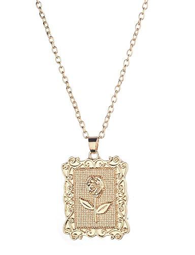 preiswerte Hochzeiten & Feste-Damen Pendant Halskette Klassisch Blume Modisch Rockig Aleación Gold 50 cm Modische Halsketten Schmuck 1pc Für Alltag Strasse