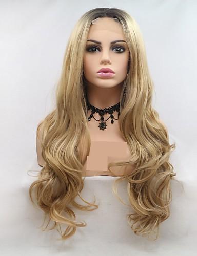 preiswerte Pflege & Haar-Synthetische Lace Front Perücken Große Wellen Stufenhaarschnitt Perücke Blond Lang Schwarz und Gold Synthetische Haare 24 Zoll Damen Damen Blond Schwarz Sylvia