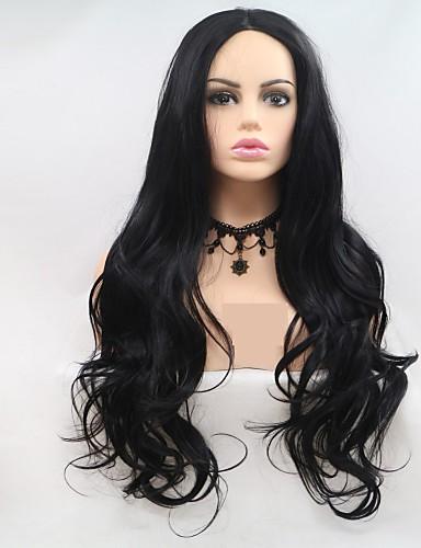 preiswerte Pflege & Haar-Synthetische Lace Front Perücken Große Wellen Stufenhaarschnitt Perücke Lang Schwarz Synthetische Haare 24 Zoll Damen Damen Schwarz Sylvia