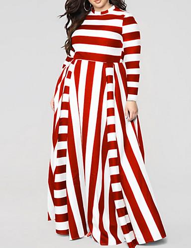 voordelige Grote maten jurken-Dames Grote maten Schede Jurk - Gestreept, Print Strakke ronde hals Maxi Hoge taille / Hoge taille  / Sexy