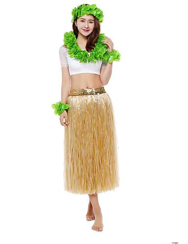 povoljno Maske i kostimi-Havajski Hula plesačica Odrasli Žene Vintage inspirirano Havajski kostimi Grass suknja Za PVC Pamuk Cvjetni print Božić Halloween Karneval Suknje Top Šeširi / Neckwear