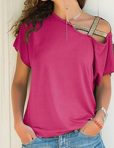 billige T-skjorter til damer-Løstsittende Båthals T-skjorte Dame - Ensfarget, Løse skuldre / Hul Fuksia