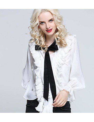 billige Dametopper-Tynn Bluse Dame - Ensfarget Hvit