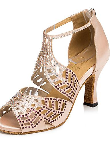 billige Shoes & Bags Must-have-Dame Dansesko Fuskelær Sko til latindans Krystalldetaljer Sandaler Kubansk hæl Svart / Rød / Naken / Trening / Lær