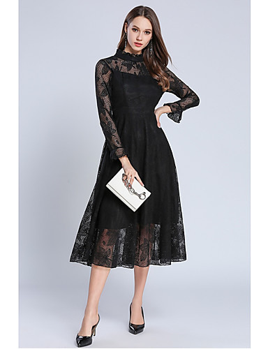 e0c5895f59c5 A-Line Jewel Neck Tea Length Lace Cocktail Party Dress with Lace Insert by  LAN TING Express 7092675 2019 – $49.99