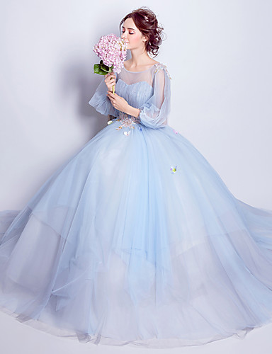 cheap Movie & TV Theme Costumes-Cinderella Dress Women's Movie Cosplay Embroidery Open Back Blue Dress Halloween Carnival Masquerade Organza Paillette / Floral