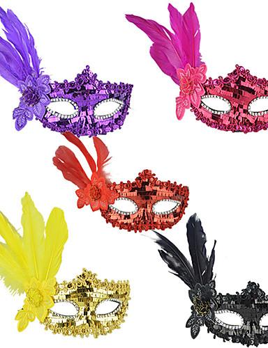 preiswerte Faschingskostüme-Feder Maske Venezianische Maske Maskenmaske Inspiriert von Prinzessin Cosplay Schwarz Purpur Sexy Halloween Karneval Maskerade Erwachsene Damen Weiblich / Federmaske / Halbe Maske