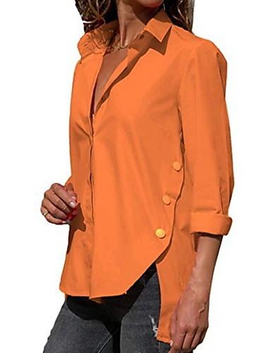billige Dametopper-V-hals Store størrelser Skjorte Dame - Ensfarget Rød