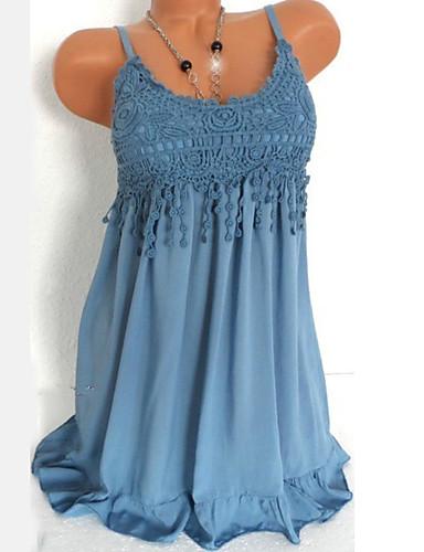 preiswerte Blaue Kleider-Damen Übergrössen Grundlegend Hülle Kleid - Spitze Ausgeschnitten, Solide Übers Knie Gurt Hohe Taillenlinie / Sexy