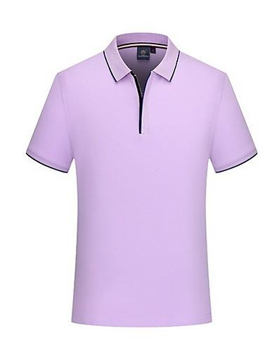 levne Pánská tílka-Pánské - Jednobarevné Větší velikosti Tričko Košilový límec Šedá / Krátký rukáv